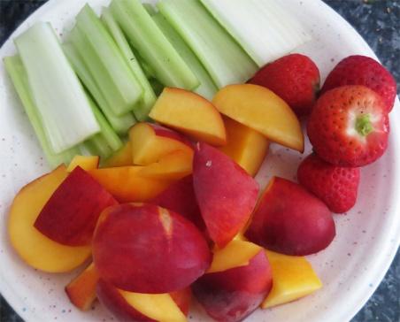 Celery, peach & strawb